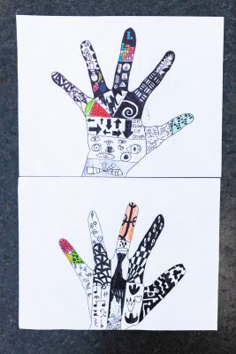 Artwork using a hand tracing