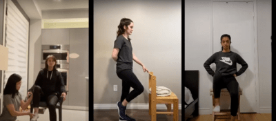 Zoom screenshot of fitness instructors demonstrating three modifications for an exercise