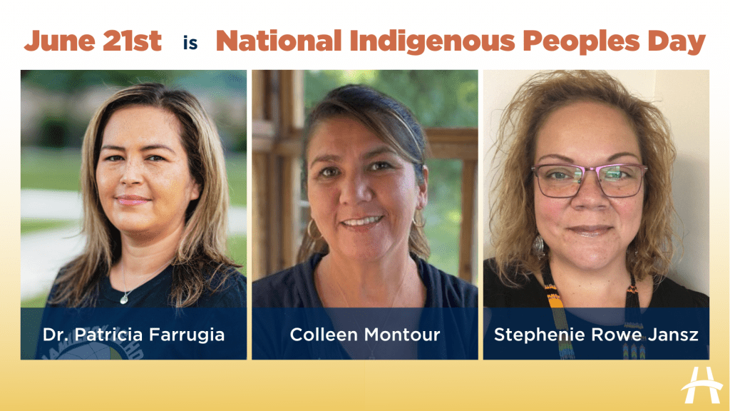 Collage showing doctor Patricia Farrugia, Colleen Montour, and Stephenie Rowe Jansz. Text at the top reads June 21 National Indigenous Peoples Day.