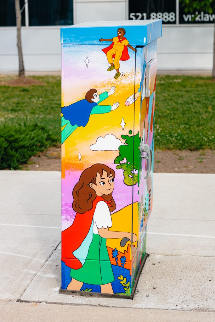 Traffic signal box that has an art wrap honouring healthcare workers