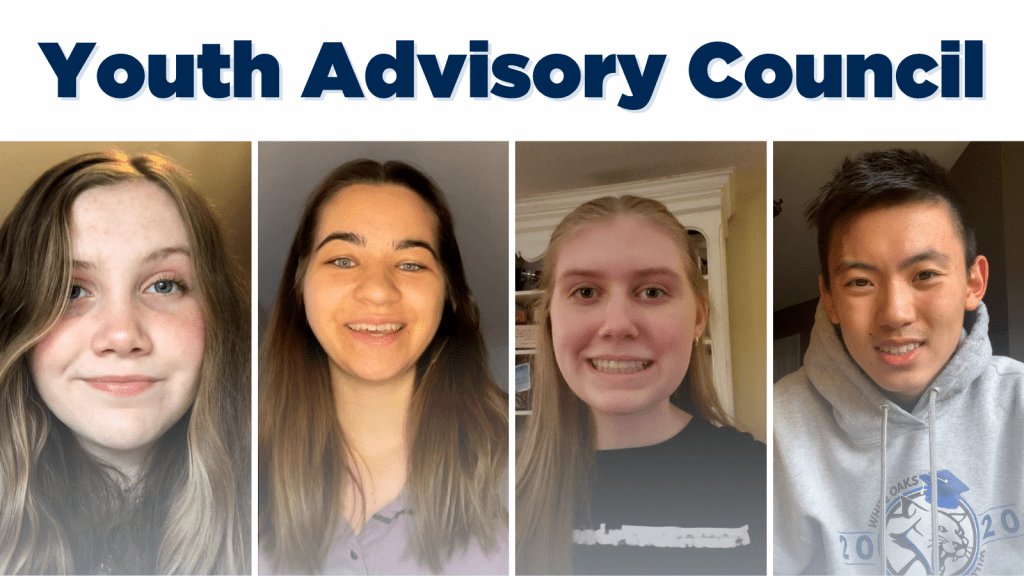 Collage image of four members of the youth advisory council. From left to right: Raynham, Megan, Illyria, and Eric.