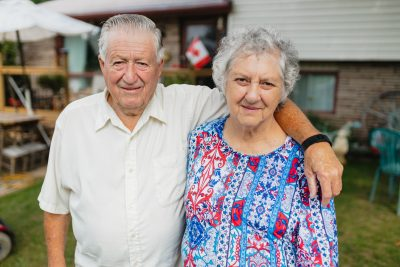 Richard and wife Pat Hayhurst outside their Brantford home