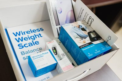 The a Cloud DX Connected Health kit that is provided to patients in the surgical transitions program