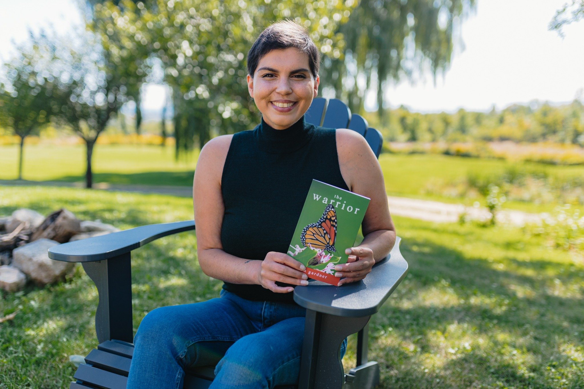 Ryan Gardner with her book